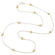 14k Gold Bead Long Station Necklace 28 Inches