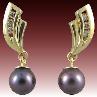 14K Diamond and Black Cultured Pearl Dangle Earrings