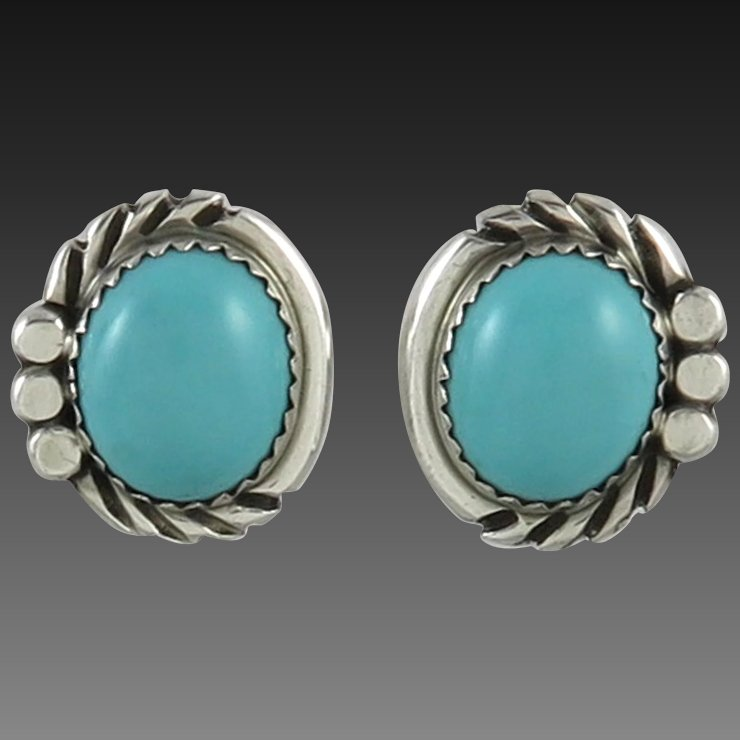 Turquoise And Sterling Silver Southwestern Earrings
