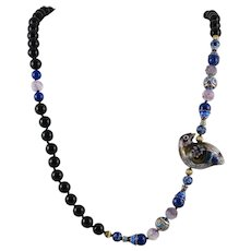 Chinese Cloisonne Enamel Partridge Necklace with Lapis Fluorite and Black Onyx Beads 32 Inches