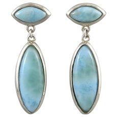 Long and Elegant Larimar Dangle Sterling Silver Earrings