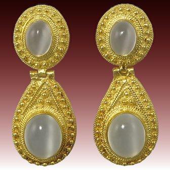 Large Moonstone Door Knocker Earrings in 18K Vermeil