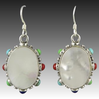 Turquoise Coral Lapis and Mother of Pearl Dangle Sterling Silver Earrings