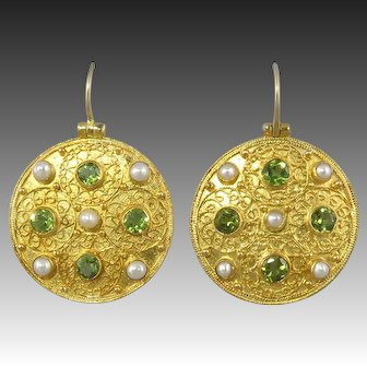 Large Peridot and Cultured Pearl Bejeweled Shield Earrings
