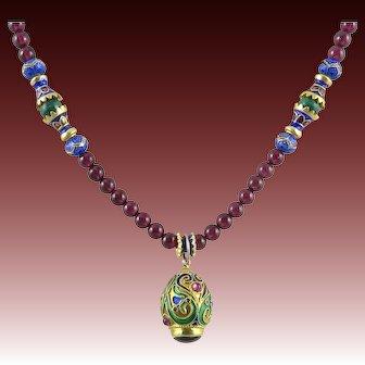18K Vermeil Enamel Garnet and Malachite Egg Pendant Necklace 24 Inches