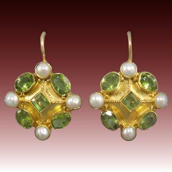 18K Vermeil Peridot and Cultured Pearl Earrings