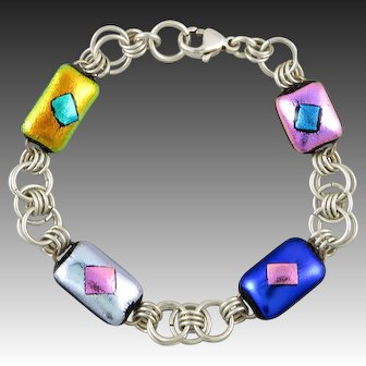 Dichroic Glass and Sterling Silver Link Bracelet