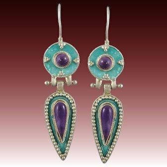 Amethyst and Enamel on Sterling Silver Door Knocker Style Earrings