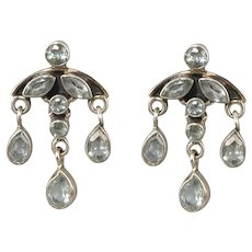 Blue Topaz and Sterling Silver Chandelier Style Earrings