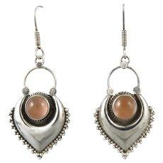 Light Carnelian and Puffy Sterling Silver Tribal Style Dangle Earrings