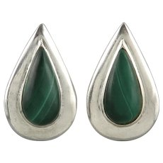 Mid Century Sterling Silver and Malachite Clip Style Earrings