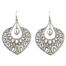 Openwork Sterling Silver and Cultured Pearl Dangle Earrings