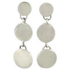 Long Sterling Silver Triple Disk Dangle Earrings