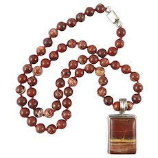 Red Jasper and Sterling Silver Pendant Necklace 23 Inches