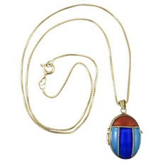 Vintage Enamel on Gilded Silver Beetle Locket Necklace 18 Inches