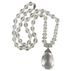 Art Deco Huge Rock Crystal Pendant and Faceted Bead Necklace 29 Inches