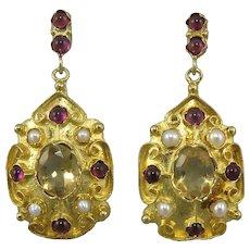 Citrine Garnet and Cultured Pearl Elegant Dangle Earrings 18K Vermeil