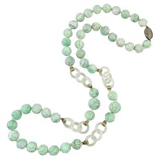 Chinese Carved Jadeite Jade Bead and Hetian Jade Ring Necklace 31 Inches