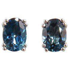 2ctw London Blue Topaz and Sterling Silver Earrings