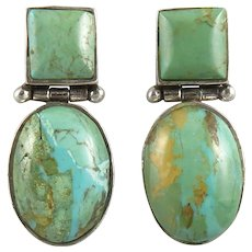Sterling Silver and Turquoise Door Knocker Earrings