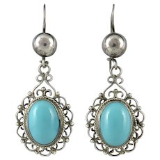 Elegant Vintage Turquoise and Sterling Silver Dangle Earrings