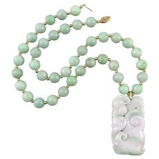 14K Chinese Carved Lavender and Green Jade Pendant and Bead Necklace 19 Inches