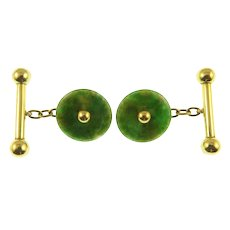 0030360ce967 Art Deco 14K Green and Gold Jadeite Jade Bar and Chain Cufflinks