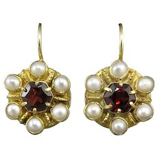 Garnet and Cultured Pearl 18K Vermeil Lever Back Earrings