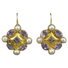 Sparkling Amethyst and Cultured Pearl 18K Vermeil Lever Back Earrings