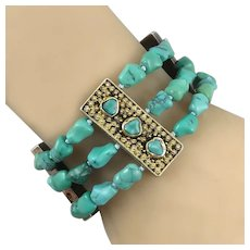 Chinese Export Turquoise and Gilded Silver 3 Strand Bracelet