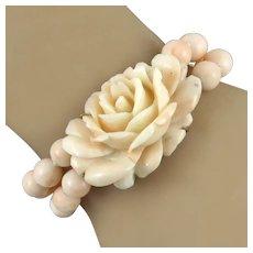 Carved Pink Coral Rose 2 Strand Bracelet