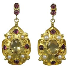 Citrine Garnet and Cultured Pearl Elegant Dangle Earrings 18K Vermeil