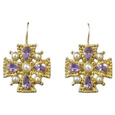 Amethyst and Cultured Pearl Jerusalem Cross 18K Vermeil Earrings
