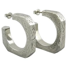 Big Puffy Chased Sterling Silver Southwestern Style Square Hoops