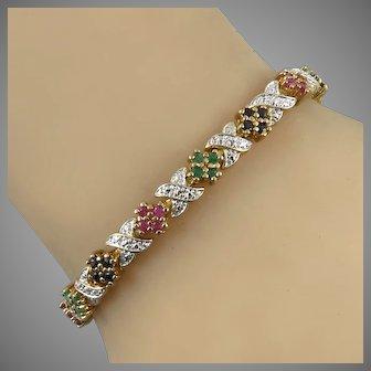 2ctw Ruby Emerald Sapphire 14K Vermeil Bracelet