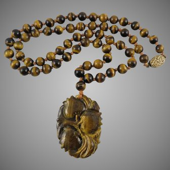 Chinese Carved Tiger Eye Agate Pendant Necklace 27 Inches