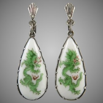 Chinese Dragon Hand Painted Porcelain and Sterling Silver Earrings c1940