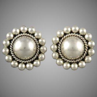Big Vintage Taxco Puffy Flower Sterling Silver Clip Back Earrings