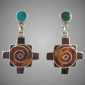 950 Silver with Spiny Oyster and Turquoise Colorful Dangle Earrings