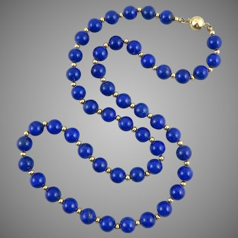 Classic Gem Quality Lapis and 14K Gold Bead Necklace 21.5 Inches
