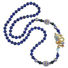 Chinese Enameled Gilded Silver Dragon and Charm Lapis Bead Necklace 32 Inches