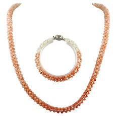 Woven Coral Necklace and Bracelet Set
