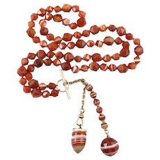 Scottish Agate Necklace with Victorian 14K Watch Fob Agate Pendant 28 Inches