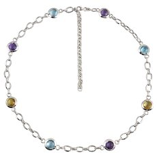 14K White Gold Chunky Colorful Gemstone Station Necklace 20.5 Inches