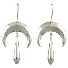 Southwestern Naja Sterling Silver Crescent Moon Dangle Earrings