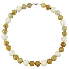 White and Honey Colored Natural Jadeite Jade Bead Necklace 20 Inches
