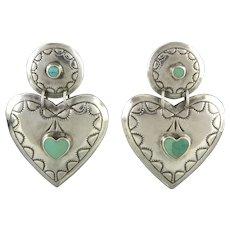 Large Sterling Silver and Turquoise Heart Door Knocker Southwestern Design Earrings