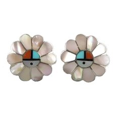 Turquoise Coral and Mother of Pearl Southwestern Flower Sterling Silver Clip Earrings