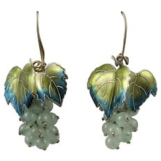 Enamel On Gilded Silver Aventurine Grape Earrings