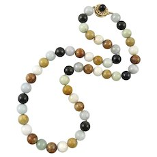 14K Multi Color Jade Bead Necklace with 14K Matching Clasp